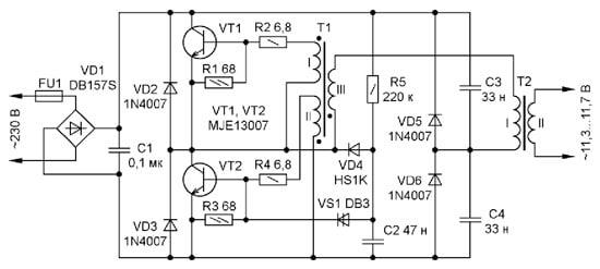 электронный трансформатор для галогенных ламп схема