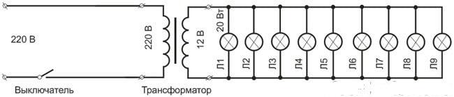 Схема подключения трансформатора для галогенных ламп - через одноклавишный выключатель