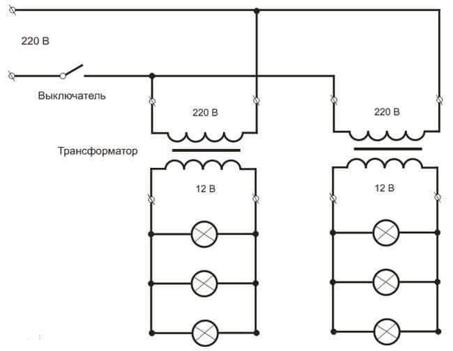 схема подключения трансформатора для галогенных ламп посредством создания отдельных групп освещения