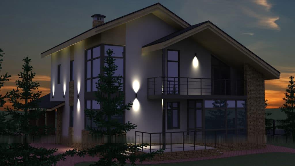 Подсветка фасада при помощи прожекторов