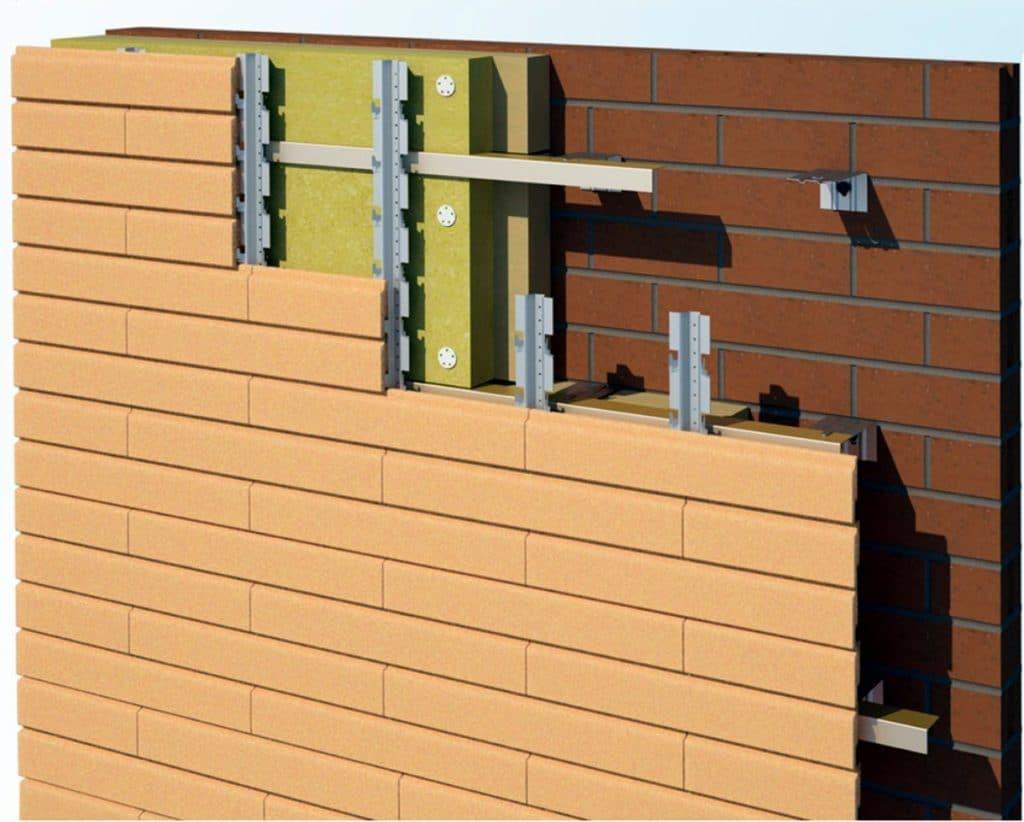 Схема монтажа клинкерного фасада